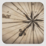 Close up of wind rose on antique map square sticker