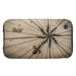 Close up of wind rose on antique map tough iPhone 3 cases