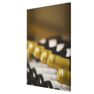 Close up of wine bottle tops canvas print