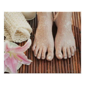 Close-up of womans feet having spa treatment poster