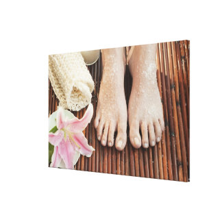 Close-up of womans feet having spa treatment stretched canvas print