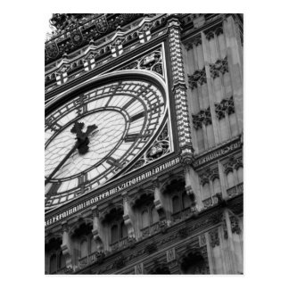 Close up on Big Ben in black and white Postcard
