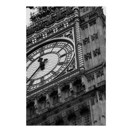 Close up on Big Ben in black and