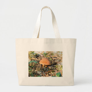 close up one mushroom large tote bag
