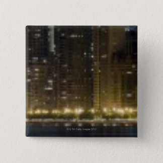 Close-up panoramic view of the Chicago lakefront 15 Cm Square Badge