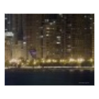 Close-up panoramic view of the Chicago lakefront 2 Poster