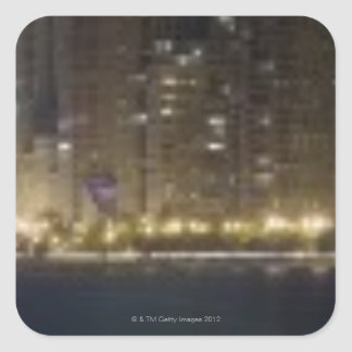 Close-up panoramic view of the Chicago lakefront 2 Square Sticker