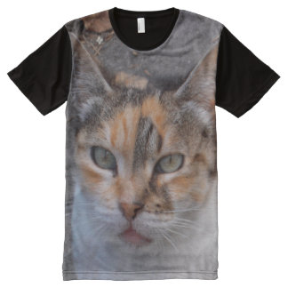 Close-up photograph. Red, white, grey calico cat All-Over Print T-Shirt