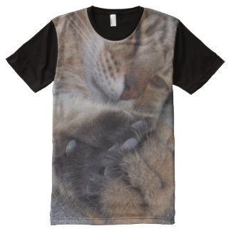 Close-up photograph. Tabby cat - nose and paw All-Over Print T-Shirt