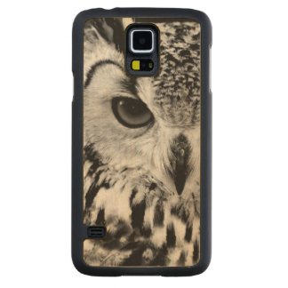 Close Up Portrait Of Eurasian Eagle-owl Carved Maple Galaxy S5 Case