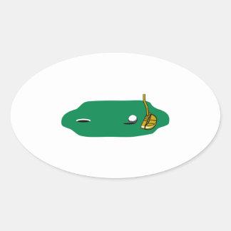 close up shot golf vector design oval sticker