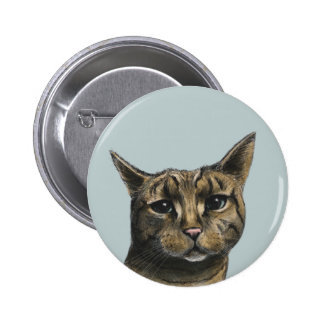 Close Up Tabby Cat Realistic Drawing 6 Cm Round Badge