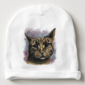 Close Up Tabby Cat Realistic Drawing Baby Beanie
