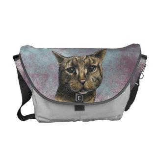 Close Up Tabby Cat Realistic Drawing Messenger Bags