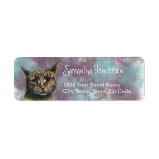 Close Up Tabby Cat Realistic Drawing Return Address Label