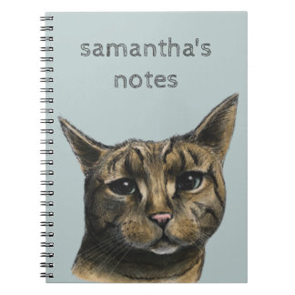 Close Up Tabby Cat Realistic Drawing Spiral Notebook