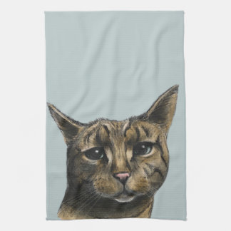 Close Up Tabby Cat Realistic Drawing Tea Towel