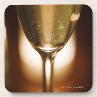 Close-up view of champagne glass coasters