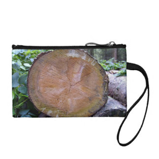 Close up view of Cut Tree Disk Texture Coin Wallet