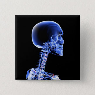 Close up x-ray of the bones in the neck 15 cm square badge