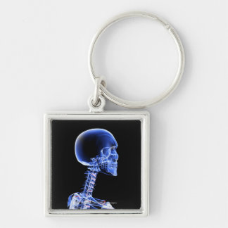 Close up x-ray of the bones in the neck Silver-Colored square key ring
