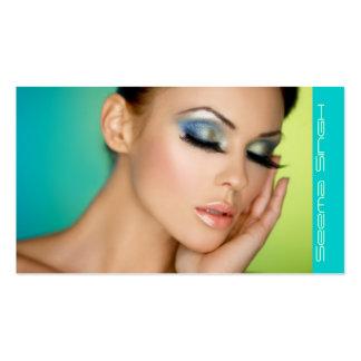 Closed eyes makeup business card templates
