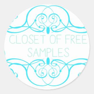 Closet of Free Samples Blue Line Round Sticker