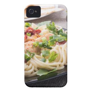 Closeup black plate with spaghetti Case-Mate iPhone 4 cases