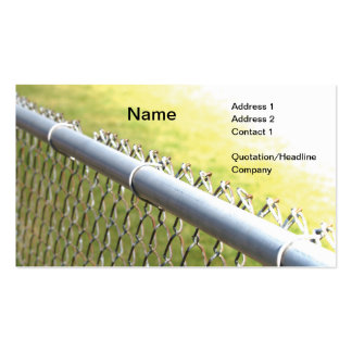 closeup detail of a metal chain link fence business card template