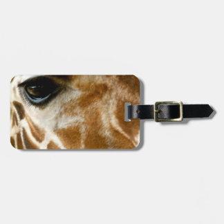 Closeup Giraffe Face Wild Animals Nature Photo Travel Bag Tag