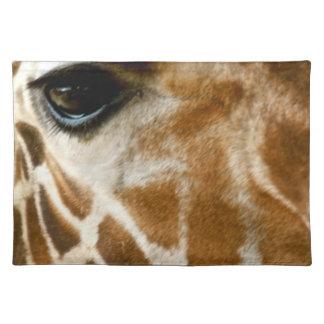 Closeup Giraffe Face Wild Animals Nature Photo Placemats