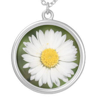 Closeup Of A Beautiful Yellow And Wild White Daisy Silver Plated Necklace