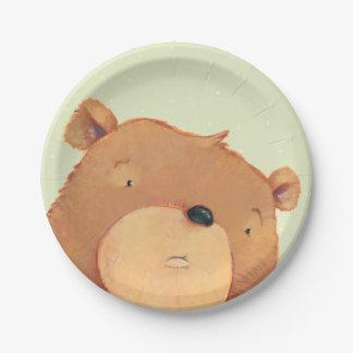 CloseUp of Big Brown Bear 7 Inch Paper Plate