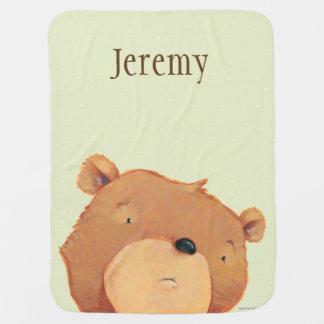 CloseUp of Big Brown Bear Baby Blanket