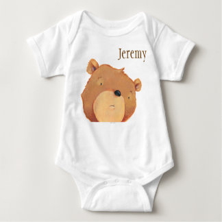 CloseUp of Big Brown Bear Baby Bodysuit