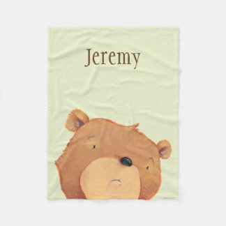 CloseUp of Big Brown Bear Fleece Blanket