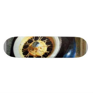 Closeup of Car Wheel Skate Board
