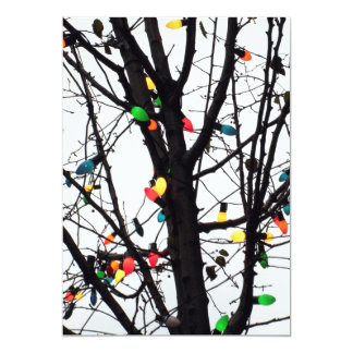 Closeup of colorful Christmas lights on branches Card