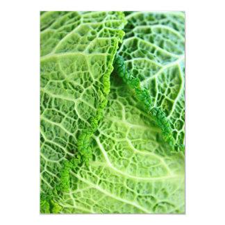 Closeup of green cabbage leaves 13 cm x 18 cm invitation card