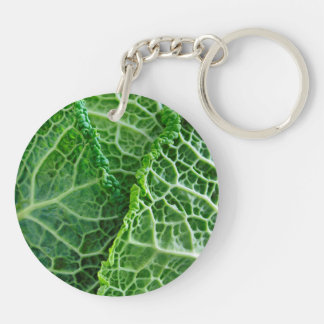 Closeup of green cabbage leaves acrylic key chain