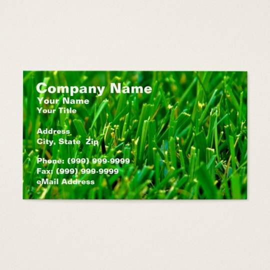 Closeup of Green Lawn Business Card