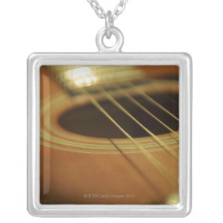 Closeup of Guitar Silver Plated Necklace