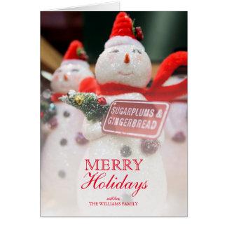 Closeup of Handmade Snowman ornament décor. Card