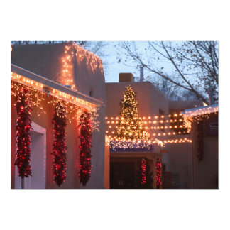 Closeup of holiday lights on building 13 cm x 18 cm invitation card