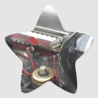 Closeup of italian classic car engine star sticker