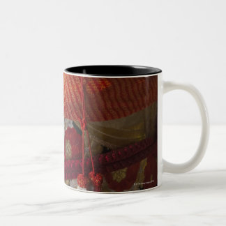 Closeup of Kimono, traditional Japanese dress Two-Tone Coffee Mug