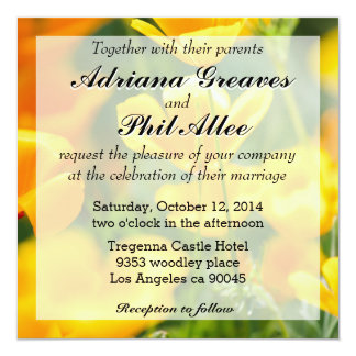 "Closeup Of Orange Flowers, Nature Photography 5.25"" Square Invitation Card"