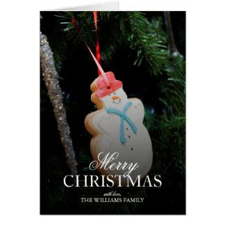Closeup of Snowman Holiday ornament Card