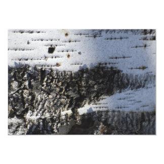 Closeup of the birch bark custom invite