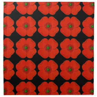 Cloth dinner napkins with red flower desing